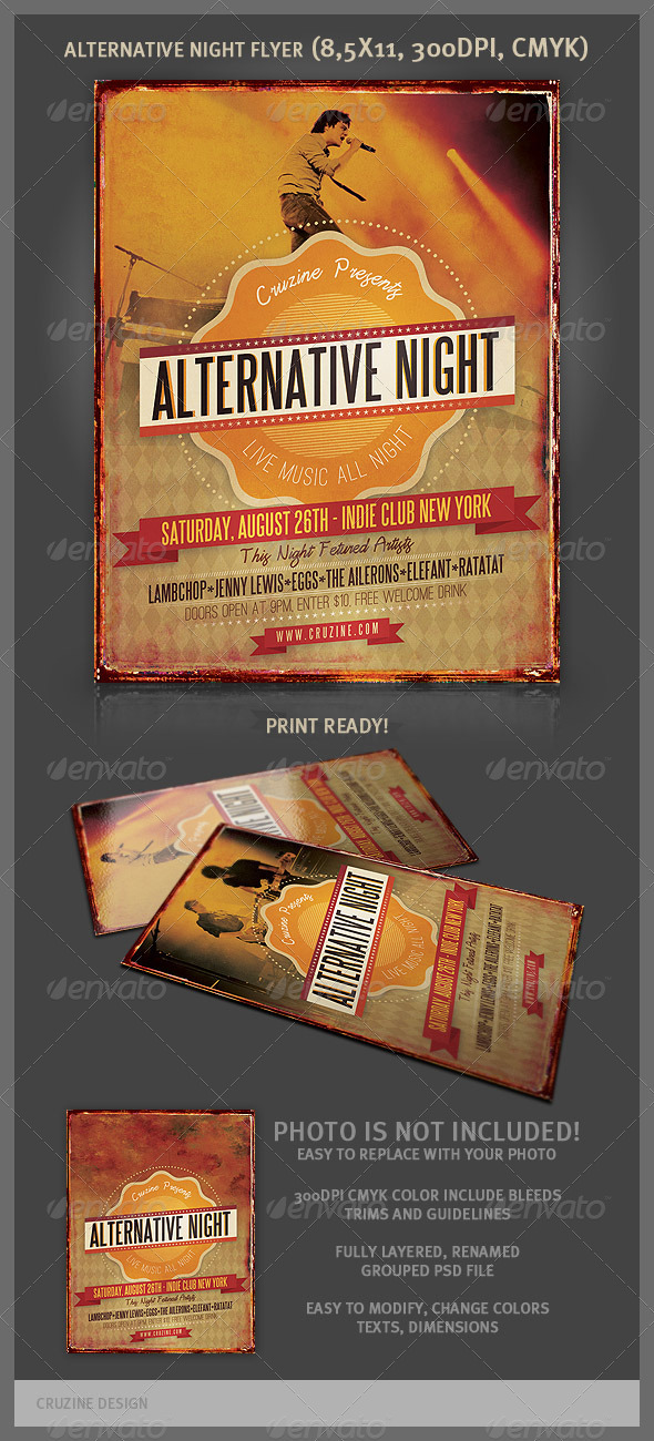 Alternative Night Music Flyer - Concerts Events