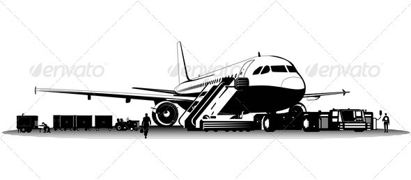 Airplane on aerodrome - Man-made Objects Objects