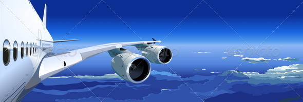 Jet cruising in the sky - Travel Conceptual