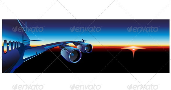 Airliner at Sunrise - Travel Conceptual