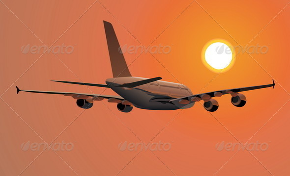 A-380 silhouette at sunset - Travel Conceptual