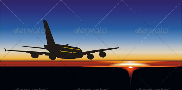 Airliner Silhouette at Sunset - Travel Conceptual