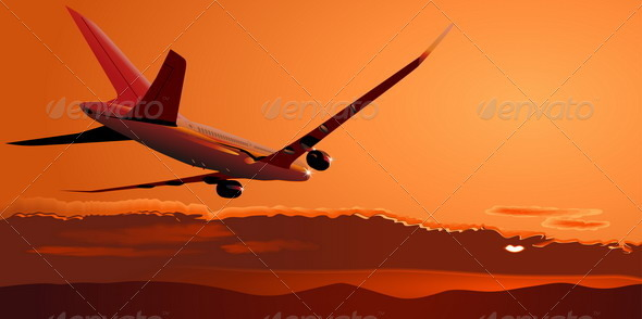 Airliner at Sunset - Travel Conceptual