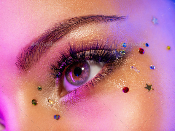 Colorful makeup. Bright and intense makeup. - Stock Photo - Images