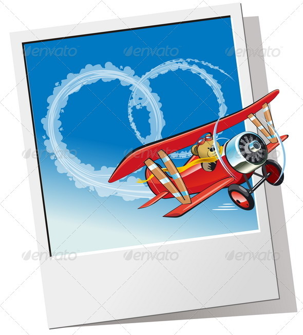 Cartoon Biplane - Weddings Seasons/Holidays