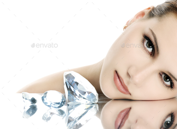 Beautiful woman with crystals - Stock Photo - Images