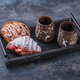 Delicious croissant and two cups of coffee for breakfast, copy space - PhotoDune Item for Sale