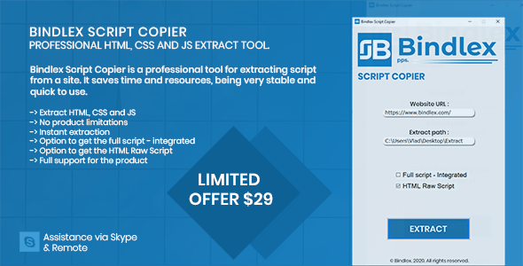 Bindlex Script Copier - Extract Website HTML, CSS and JS