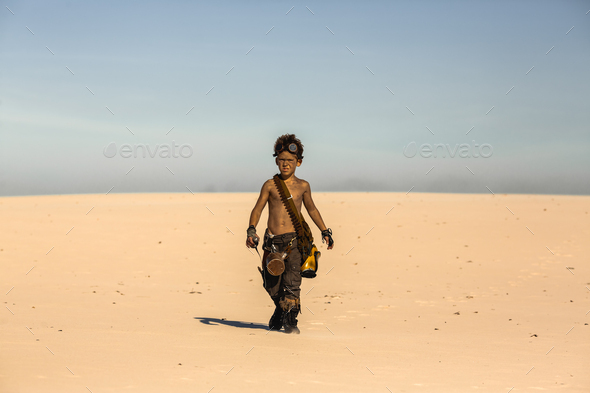 Post Apocalyptic Warrior Boy Outdoors in Desert Wasteland - Stock Photo - Images