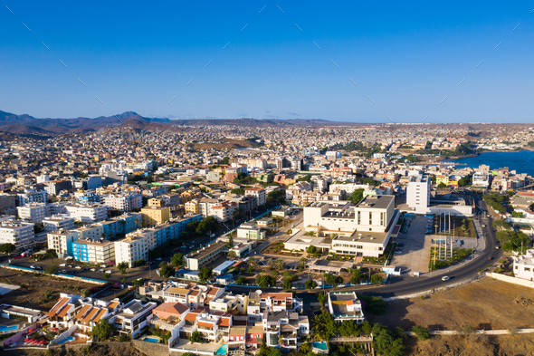 Aerial view of Praia city in Santiago - Capital of Cape Verde Islands - Cabo Verde - Stock Photo - Images
