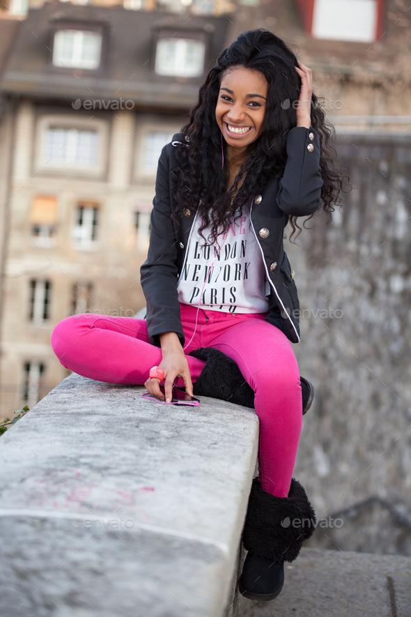 Beautiful african american teenage girl - Stock Photo - Images