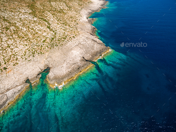 Aerial  view of Porto Vromi beach in Zakynthos (Zante) island, in Greece - Stock Photo - Images