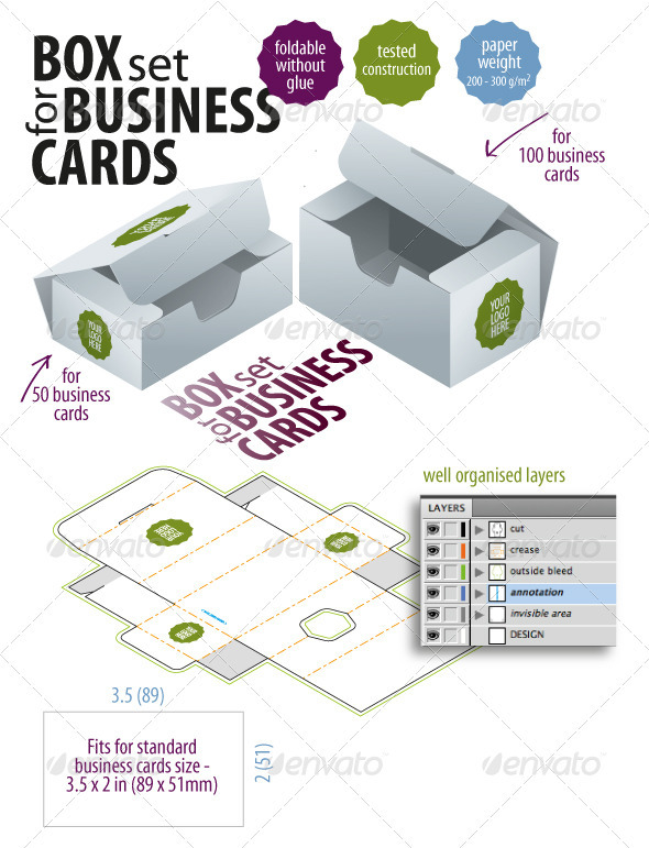 Box Set For Business Cards - Packaging Print Templates