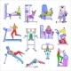People Exercise in Gym