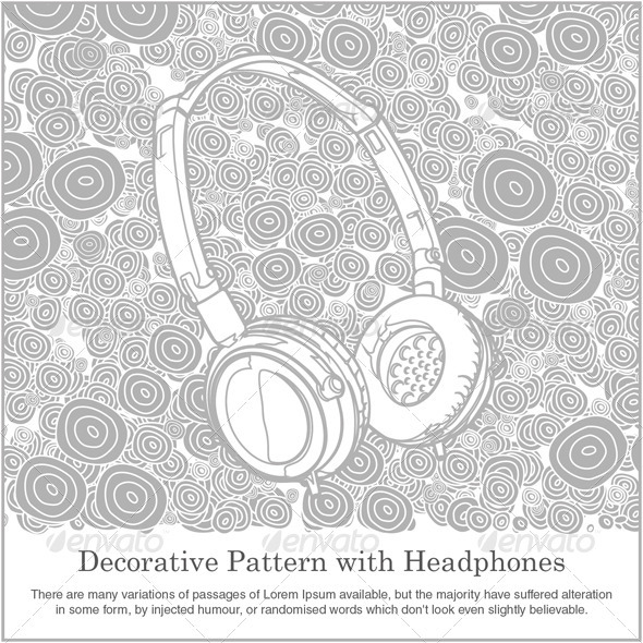 Decorative Pattern with Headphones - Technology Conceptual