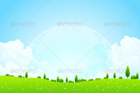 Green Background with Moon in the Sky - Landscapes Nature
