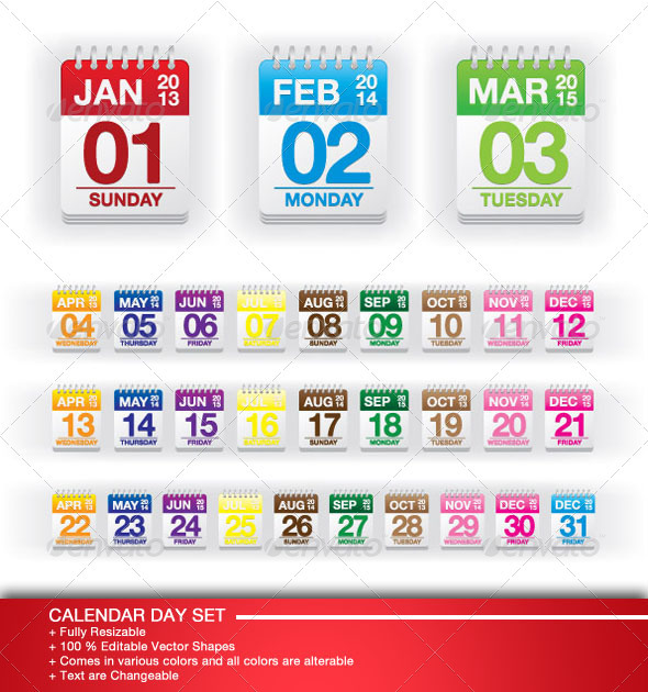 Colorful Calendar Day Set - Decorative Symbols Decorative