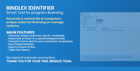 Bindlex Identifier - Smart Tool for program licensing