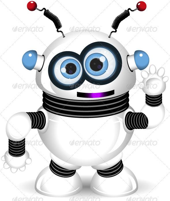 funny robot - Characters Vectors