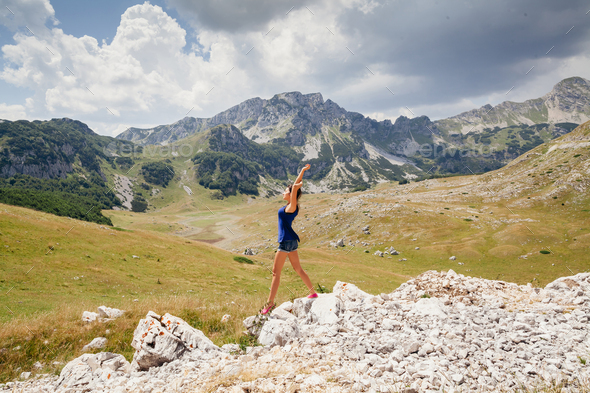 woman travel mountains - Stock Photo - Images