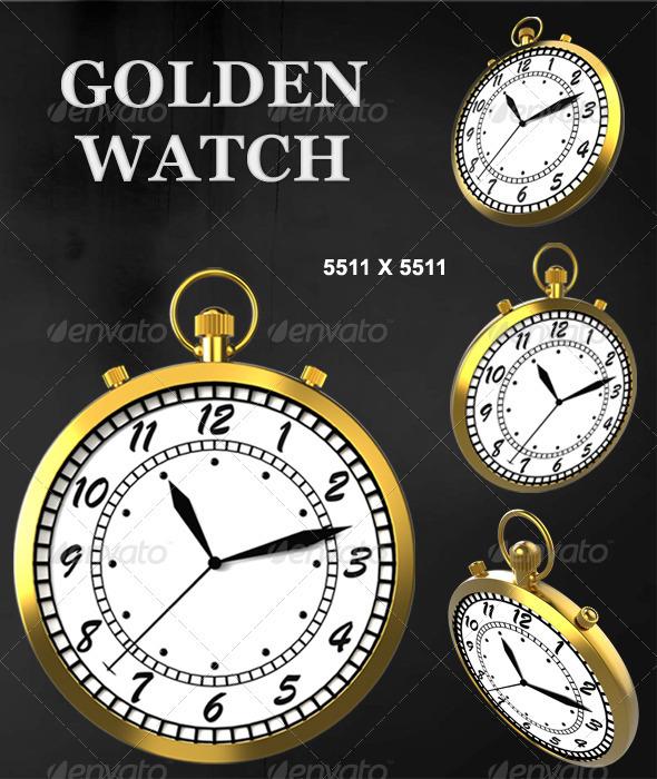 Golden Pocket Watch - Objects 3D Renders