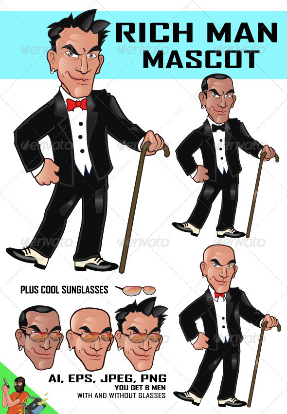 Rich Man Cartoon - People Characters