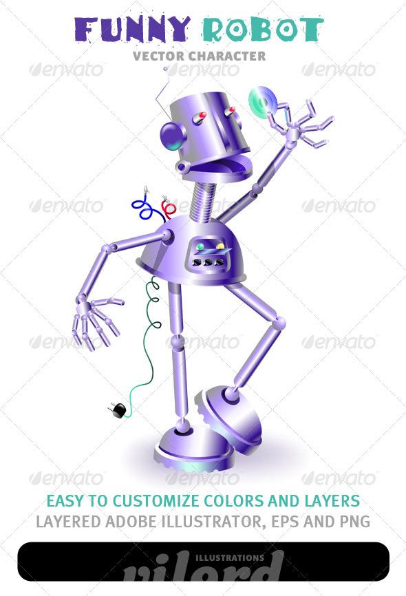 Funny Robot Mascot 2 - Characters Vectors
