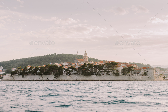 Korcula island view at sunset - Stock Photo - Images