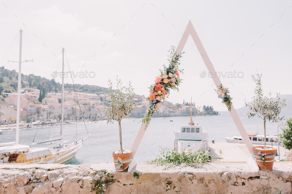 destination wedding arch with sea view in europe - Stock Photo - Images
