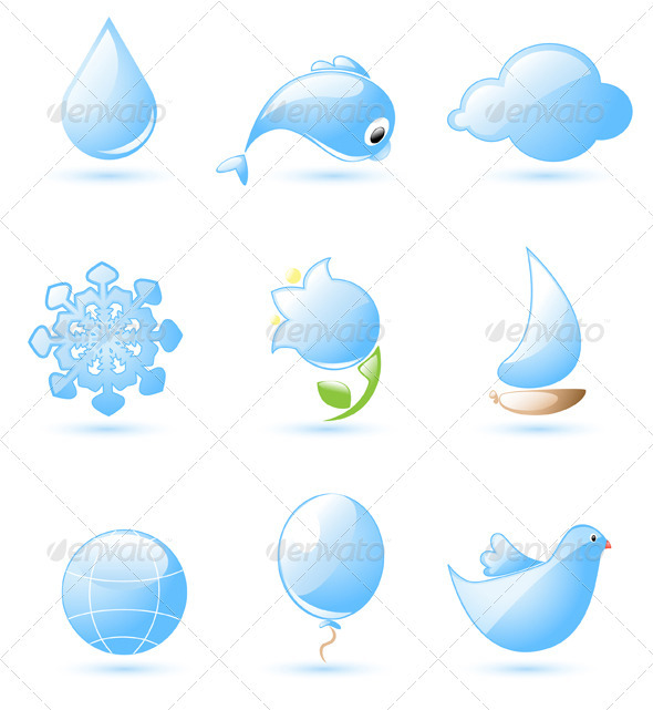 Blue Glossy Nature Icons - Miscellaneous Vectors