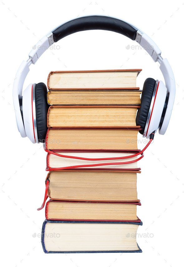 Pile books with headphone - Stock Photo - Images