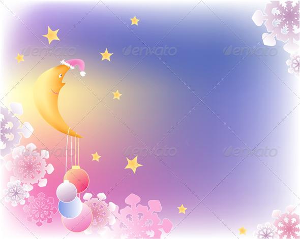 Christmas Background with Moon - Christmas Seasons/Holidays