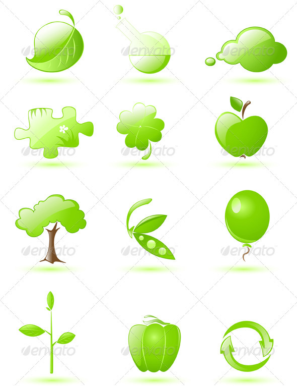 Green Glossy Icon Set - Miscellaneous Vectors