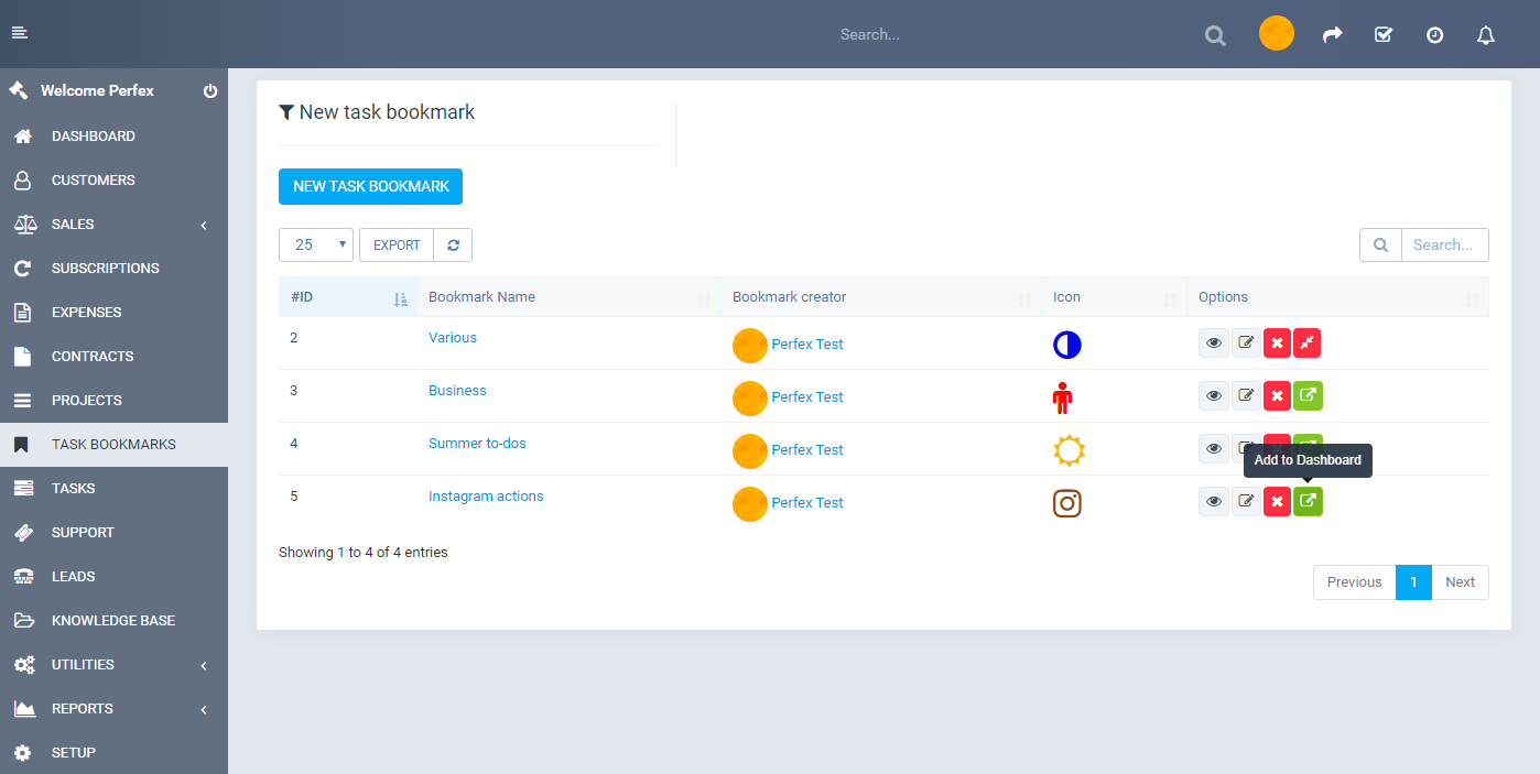 Tasks Bookmark module for Perfex CRM - 1