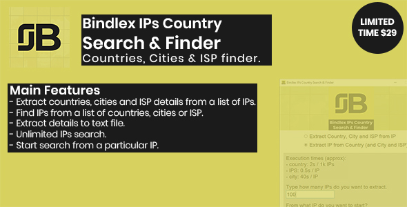 Bindlex IPs Country Search & Finder