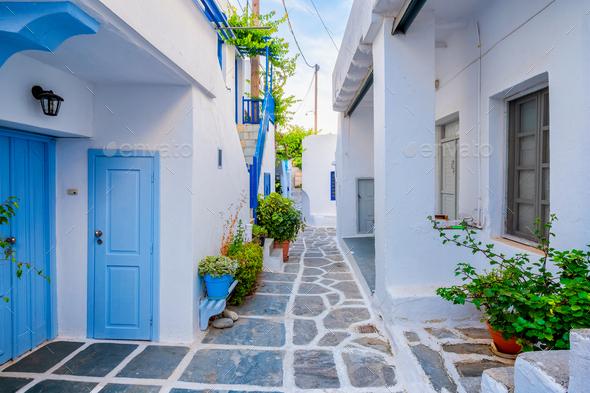 Picturesque Naousa town street on Paros island, Greece - Stock Photo - Images