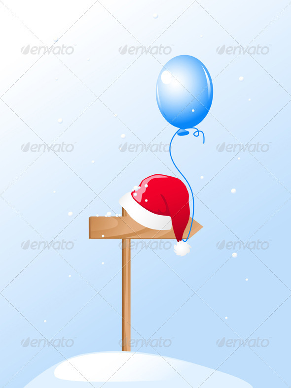 Santa's Hat and Blue Balloon - Christmas Seasons/Holidays