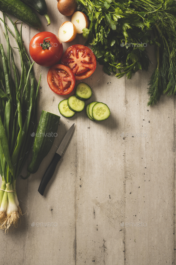 Fresh and ripe vegetables on a wooden table - Stock Photo - Images