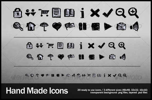 20 Hand Made Web Icons - Web Icons