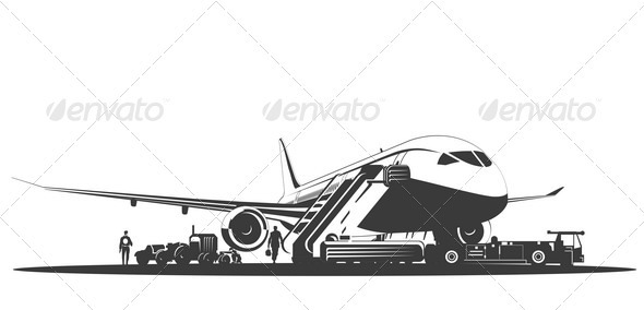 Airplane at Runway - Travel Conceptual
