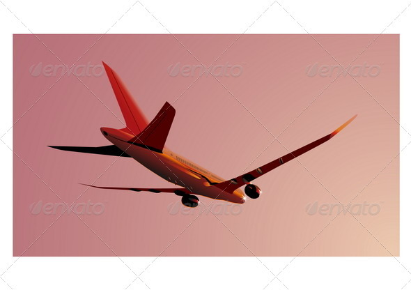 Boeing-787 at sunset - Travel Conceptual