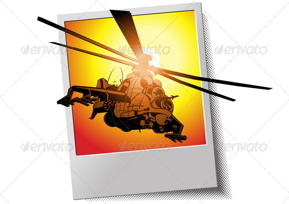 Photo Frame with Helicopter - Man-made Objects Objects