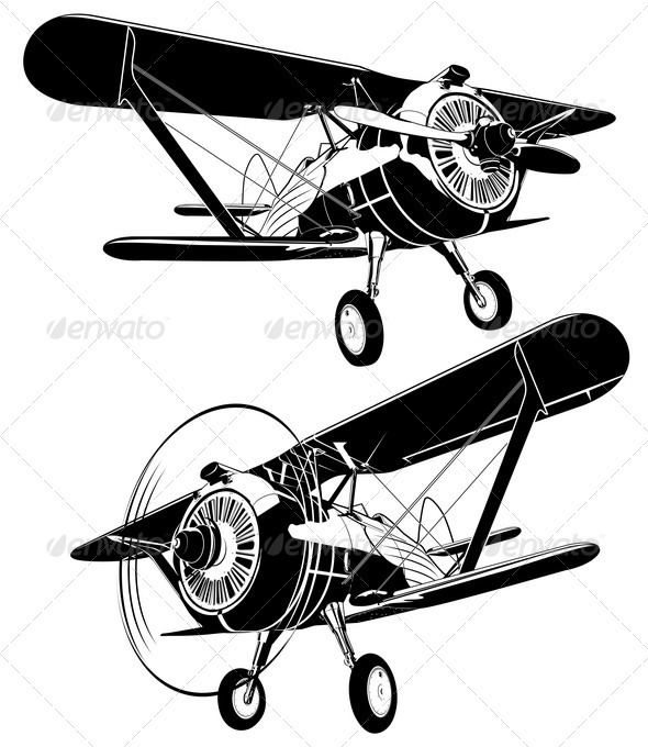 Retro Biplane - Man-made Objects Objects