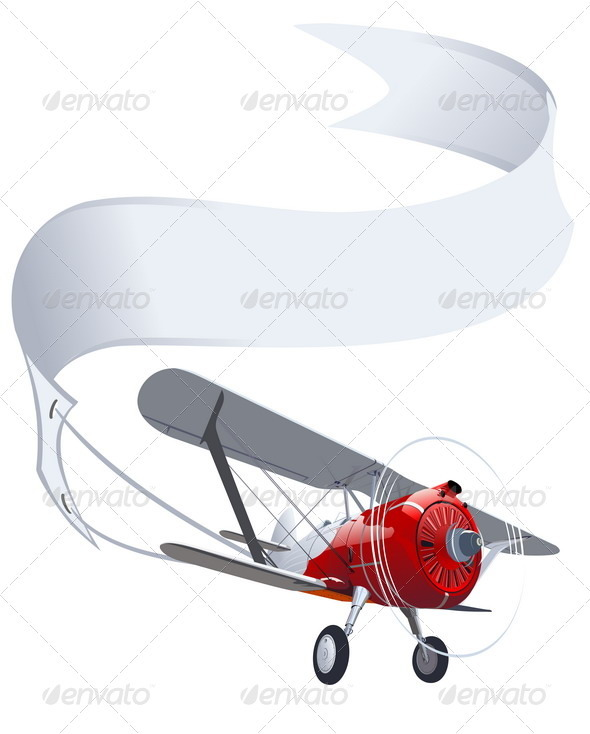 Retro Airplane with Banner - Man-made Objects Objects