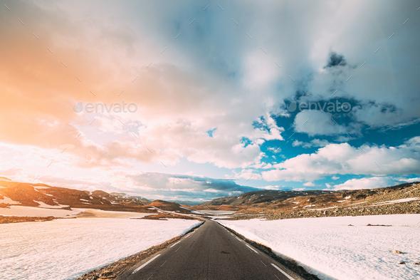 Aurlandsfjellet, Norway. Open Road Aurlandsfjellet. Scenic Route Road In Summer Norwegian Landscape - Stock Photo - Images