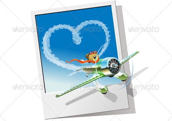 Cartoon Airplane - Valentines Seasons/Holidays