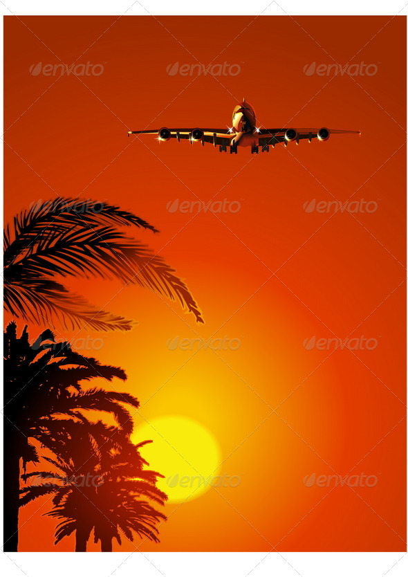 Airliner on Sunset Sky - Travel Conceptual