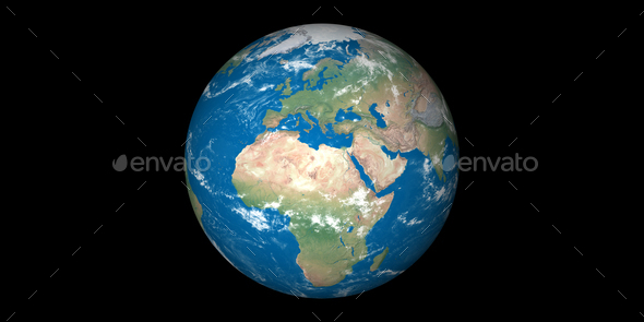 earth planet globe black background - Stock Photo - Images