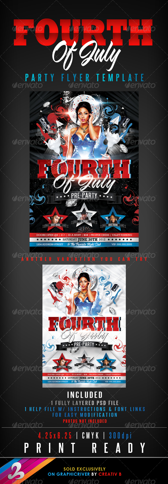 Fourth of July Party Flyer Template - Clubs & Parties Events