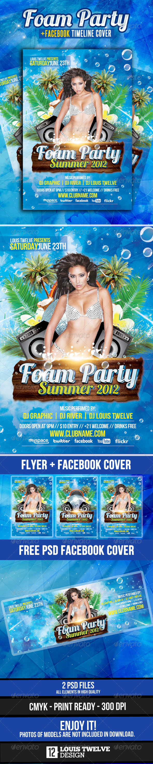 Foam Party Summer Flyer + Facebook Cover